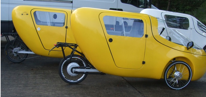 foto of Leiba Cargo velomobile for two with rear seat, door and cargo space - tricycle fully enclosed motorized with passenger rear door