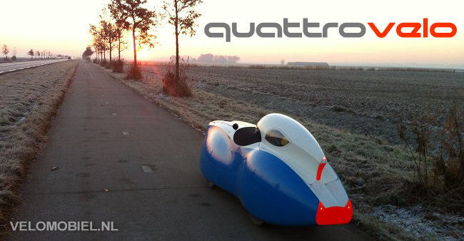foto of Quattrovelo aerodynamic velomobile with child seat - fast recumbent quadricycle