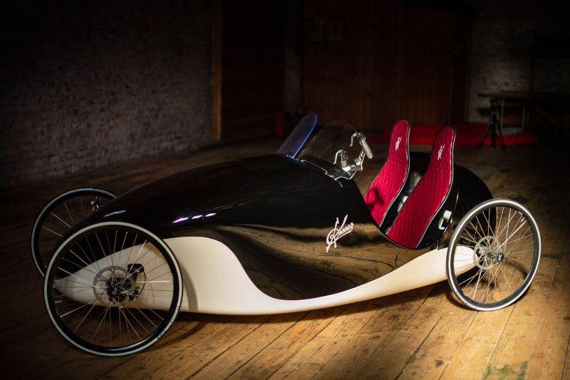 Kinner-car velocar tandem velomobile electric bike sociable tandem e-bike quad quadricycle finland